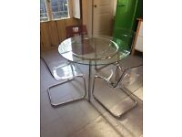 Great Round Glass Table and 4 Acrylic Chairs