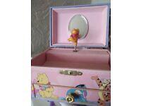 Winning the pooh musical jewellery trinket box new cond