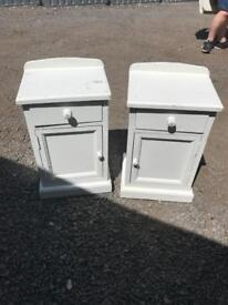 Two solid painted bedside cabinets