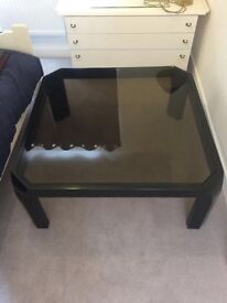 Coffee table. Large square smoked glass and gloss black wood