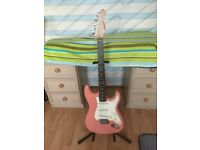 ARIA STRAT SHAPE BARBIE PINK GUITAR.