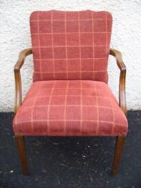 Vintage armchair. Lounge chair. Solid wood, reupholstered wool fabric. Carver elbow chair. c.1930