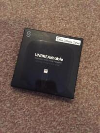 Brand new unopened black iPhone charging lead by unbreakcable