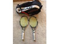 2 x Head Speed MP Racquets and 6 Racquet Head bag
