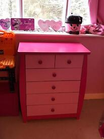 PINK WOODEN BEDROOM FURNITURE KIDS GIRLS CHEST OF DRAWERS WARDROBE
