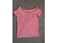 *BRAND-NEW* Red Striped Bardot Top