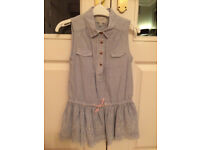 M&S Girl's Smock / Dress Blue 6-7 Yrs