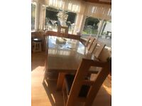 6ft solid oakDining table and chairs immaculate