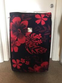 Large Red and Blue flower design Tripp suitcase