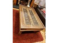 Coffee table Indian Shutter glass topped