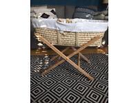 Moses basket, new unused mattress, x2 sheets