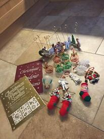 Box Of Christmas Decorations (18 Items) - See Listing & All Photos