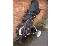 Slghtly used Motorcaddy golf bag, trolley with lithium battery