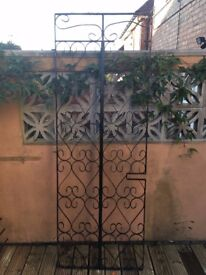 Ornate wrought iron door shutter approx 190 x 70 cm, could be used as a trellis