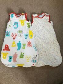 Twin set of 0-6 month Grobags- 1 and 2.5 tog