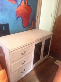 Chalk painted drawer and cupboard storage unit
