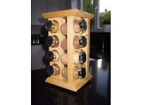 Wooden Revolving Spice Rack with 16 Labelled Spice Jars.