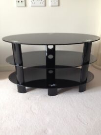 TV Stand (Black Glass) 80 cm x 45 cm.