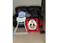 High chair, baby walker and stroller