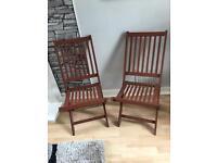 Set of 4 wooden garden chairs