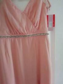 Salmon pink maxi dress size 16 x 3