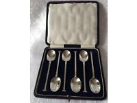 Vintage Art Deco George V 1921 solid HM sterling silver coffee spoons in original box