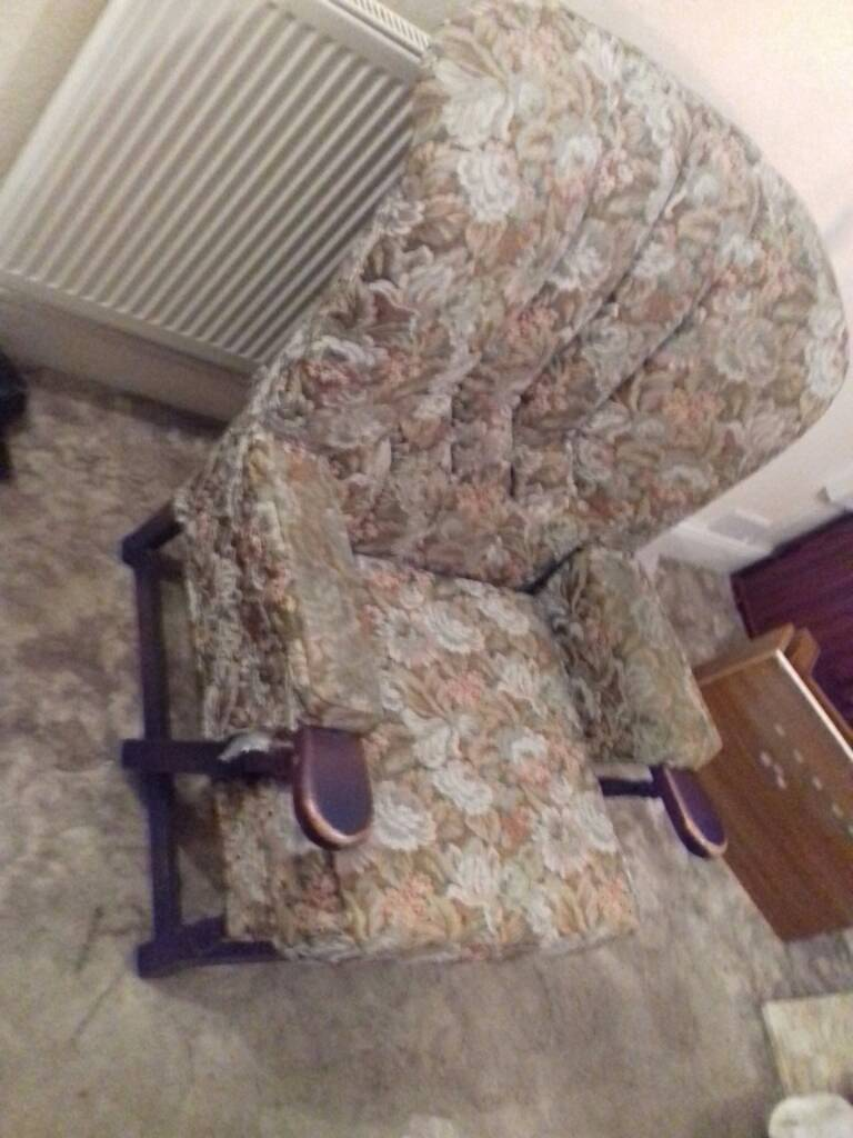 Armchairs x 2. Tapestry type fabric PAIR of armchairs