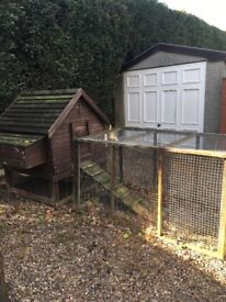 Large hen house with integral 5' run and extra large additional run