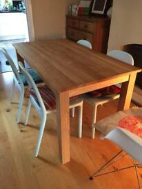 Solid wood, waxed oak table and 4 Ikea chairs