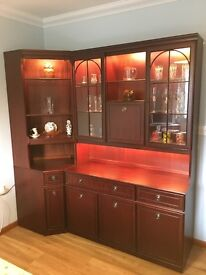 Display Unit 3 door, 3 base cupboards cutlery and side drawers with display and cocktail bar above