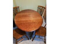 Drop Leaf Dinning Table/Wheel Back Chairs