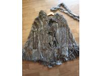 Authentic real fur poncho