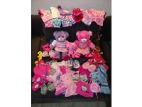 LARGE BUILD-A-BEAR BUNDLE, 3 bears, 2 carriers, 40+ clothes and accessories, very good condition