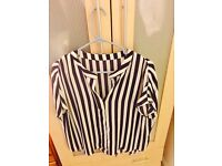 Oasis Blue and White Women's Striped Blouse Size 14
