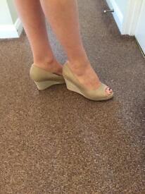 TU beige wedge suede effect sandals - size 7