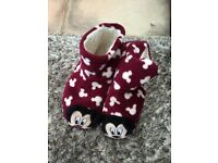 Disney Mickey Mouse Pull On furry lined slippers. Fits UK 2-4. Hardly worn, very cosy. £2.50. Torqua