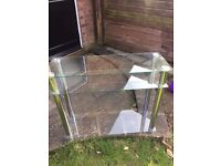2 x glass console/tv stand/side table