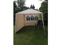 GAZEBO CREAM WITH TWO SIDE PANELS - Size H250, W270, D270cm