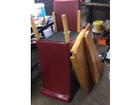 Small oak table and 2 red leather chairs