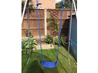 Blue single garden swing