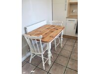 Shabby Chic farmhouse pine table 2 painted pine chairs.
