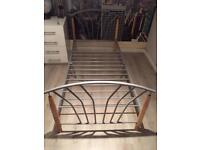 Chrome & beech wood single bed frame