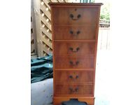 Antique replica 3 Drawer filing cabinet in yew wood finish