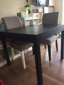 Extendable table with 2 chairs and a bench