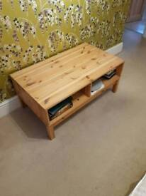 Pine coffee table with shelf under