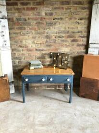 Rustic pine painted side coffee table with drawers