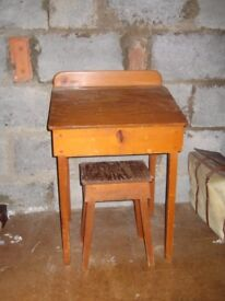 Child's 1950 wooden desk and stool