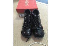 Kicker black patent boots