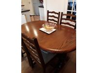 Dinning Oak table and 4 Chairs
