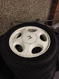 "Honda alloys 4x100 14"" all tyres like new"